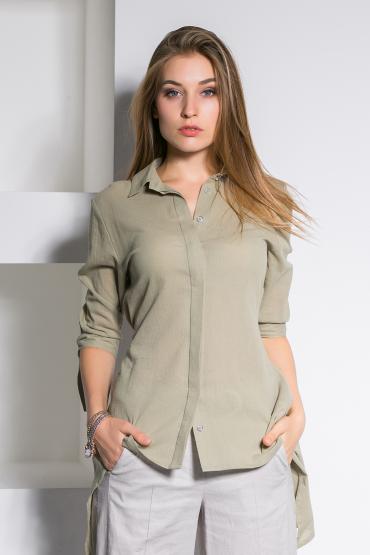 Рубашка из хлопка с фигурной спинкой
