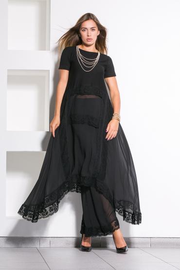 Костюм платье с брюками из шифона и кружева