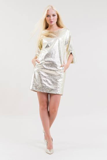 Gold eco leather mini dress