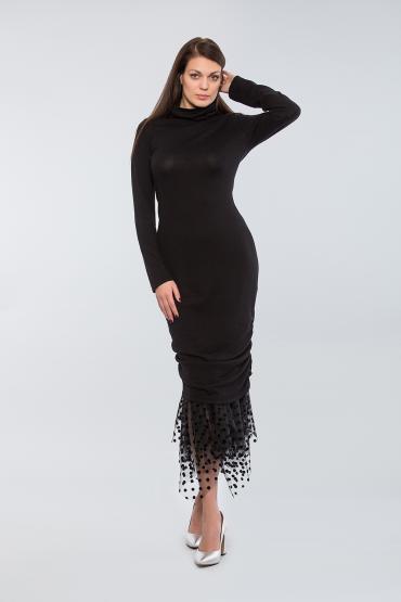 Вязаное платье из вискозы с фатином