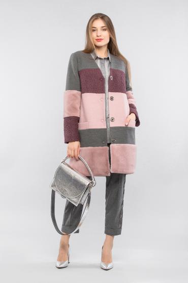 Пальто в полоску с мехом