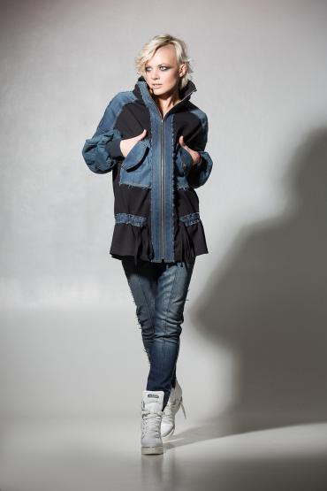 Куртка из трикотажа с джинсой