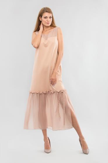 Платье трикотажное с шифоном