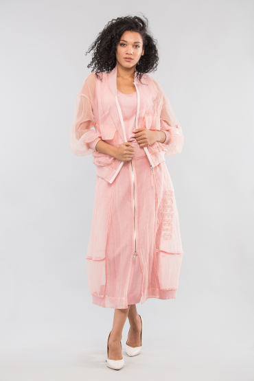 Вязаное платье с юбкой из органзы