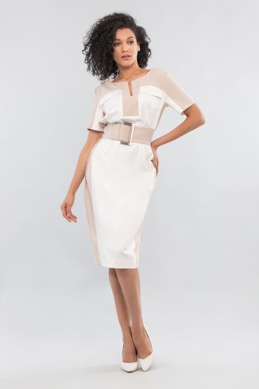 Трикотажное платье мини с сеткой
