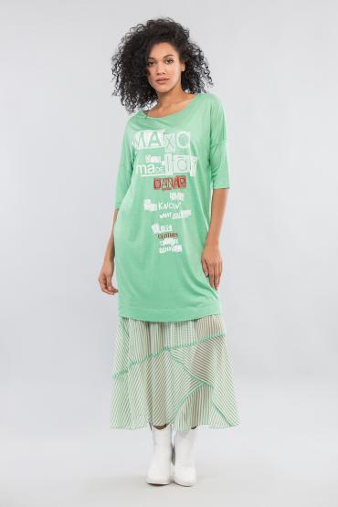 Платье двойное с принтом