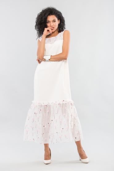 Платье трикотажное с органзой фламинго