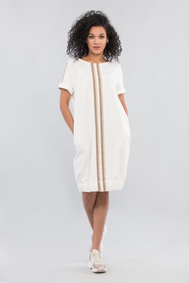 Платье трикотажное с тесьмой