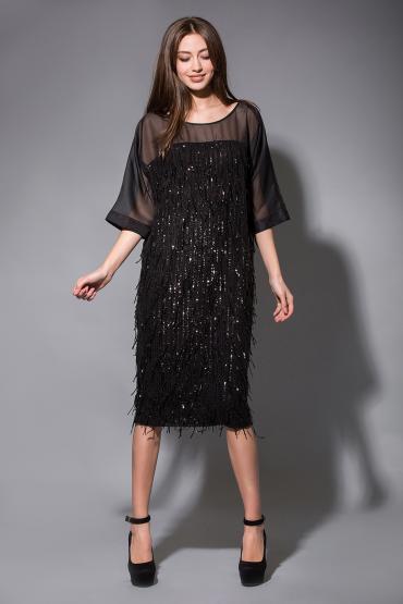 Вечернее платье с пайетками и органзой