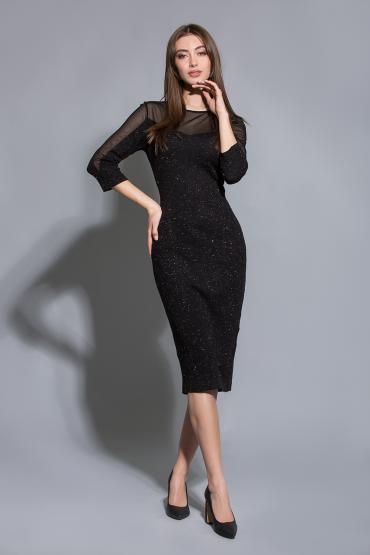 Трикотажное платье с прозрачными вставками
