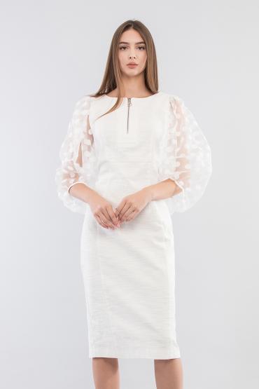 Платье футляр с рукавами в горошек