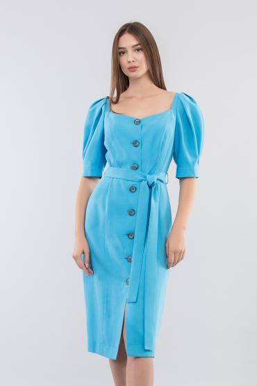 Платье на пуговицах с рукавами - буфами