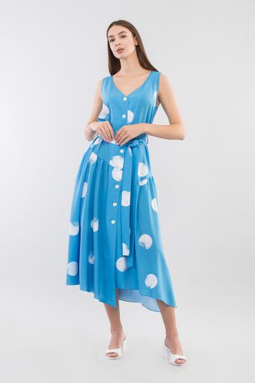 Платье на пуговицах с ассиметричным низом