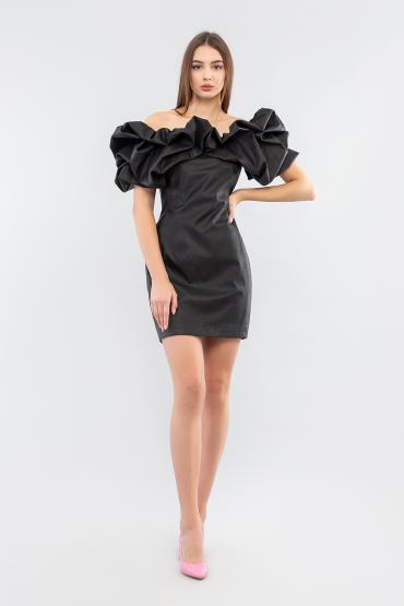 Мини платье из эко-кожи